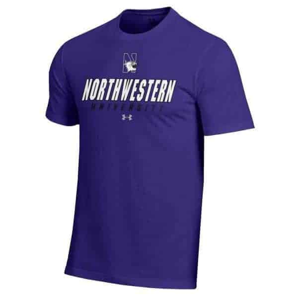 Northwestern University Wildcats Under Armour® Men's Charged Cotton® Purple Short-Sleeve Tee Shirt with Printed N-Cat Northwestern University Design