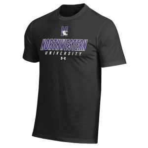 Northwestern Wildcats Under Armour® Men's Charged Cotton® Black Short-Sleeve Tee Shirt with Printed N-Cat Northwestern University Design