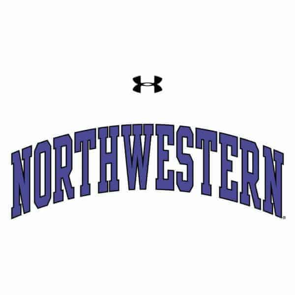 Northwestern Wildcats Under Armour® Men's Tech White Short-Sleeve Tee Shirt with Printed Arched Northwestern Design