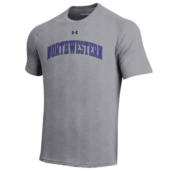 Northwestern University Wildcats Under Armour® Men's Tech Grey Short-Sleeve Tee Shirt with Printed Arched Northwestern Design