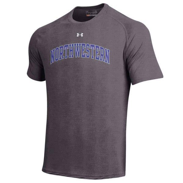 Northwestern Wildcats Under Armour® Men's Tech Charcoal Short-Sleeve Tee Shirt with Printed Arched Northwestern Design