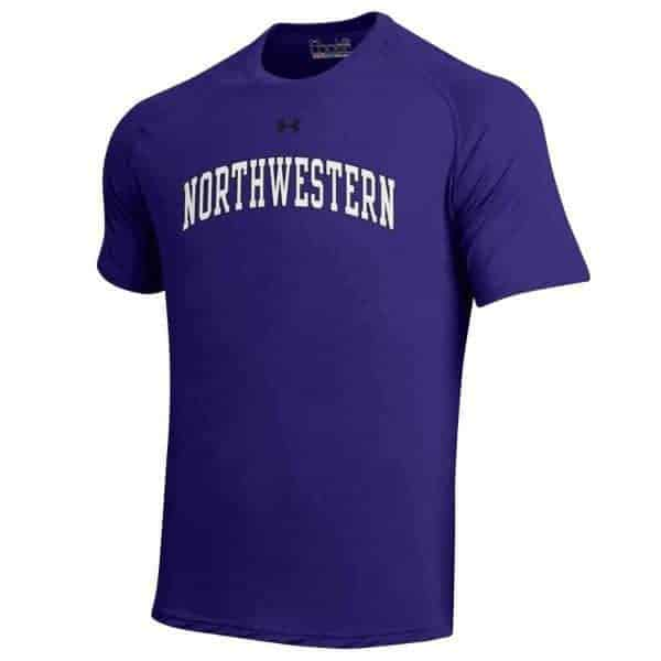 Northwestern Wildcats Under Armour® Men's Tech Purple Short-Sleeve Tee Shirt with Printed Arched Northwestern Design