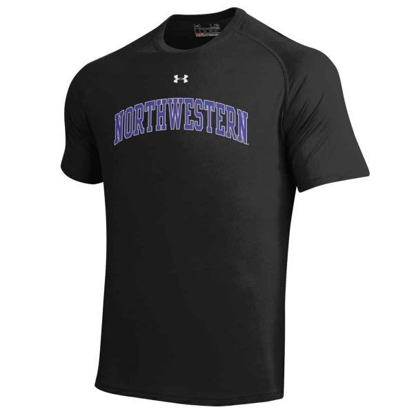 Northwestern Wildcats Under Armour® Men's Tech Black Short-Sleeve Tee Shirt with Printed Arched Northwestern Design