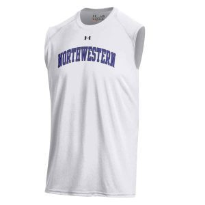 Northwestern University Wildcats Men's UA Tech™ White Sleeveless T-Shirt with Printed Arched Northwestern Design