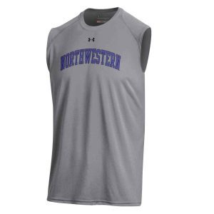 Northwestern University Wildcats Men's UA Tech™ Grey Sleeveless T-Shirt with Printed Arched Northwestern Design