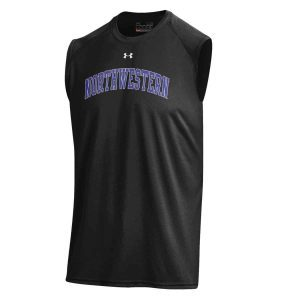 Northwestern University Wildcats Men's UA Tech™ Black Sleeveless T-Shirt with Printed Arched Northwestern Design