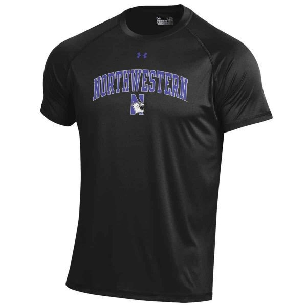 Northwestern Wildcats Men's UA Tactical Tech™ Black Short Sleeve T-Shirt with Arched Northwestern & N-Cat Design