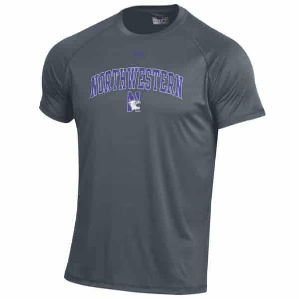 Northwestern Wildcats Men's UA Tactical Tech™ Carbon Short Sleeve T-Shirt with Arched Northwestern & N-Cat Design