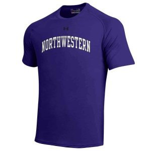 Northwestern Wildcats Men's UA Tactical Tech™ Purple Short Sleeve T-Shirt with Arched Northwestern & N-Cat Design