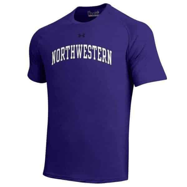 Northwestern University Wildcats Men's UA Tactical Tech™ Purple Short Sleeve T-Shirt with Arched Northwestern & N-Cat Design