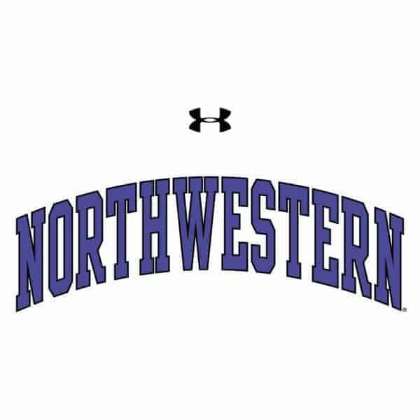 Northwestern University Wildcats Under Armour® Youth Tech White Short-Sleeve Tee Shirt with Printed Arched Northwestern Design