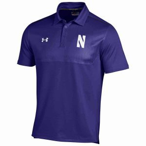 Northwestern University Wildcats Under Armour Two Tone Purple Polo Shirt with Left Chest N & Back Upper Left Shoulder Northwestern Embroidery