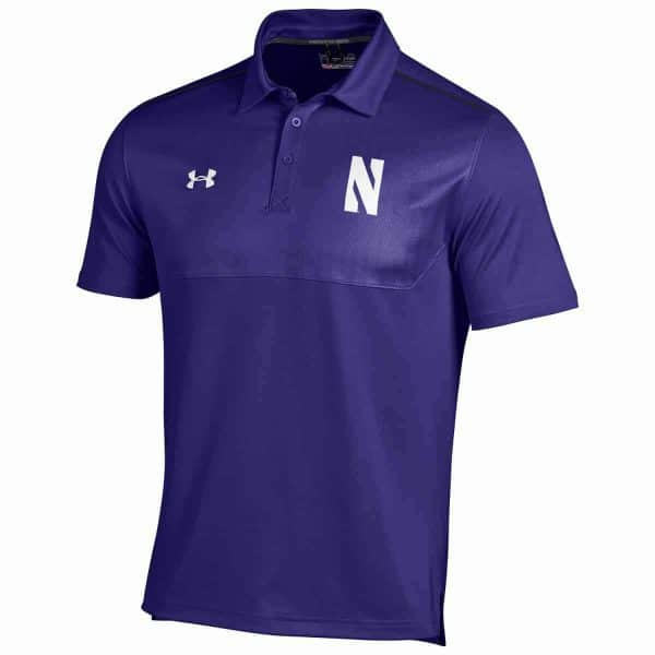 Northwestern Wildcats Under Armour Two Tone Purple Polo Shirt with Left Chest N & Back Upper Left Shoulder Northwestern Embroidery