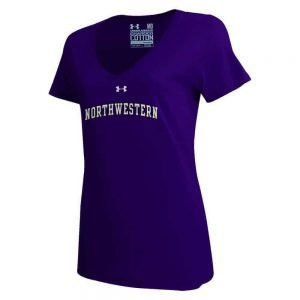 Northwestern University Wildcats Under Armour Ladies Purple Charged Cotton V-Neck Tee Shirt with Printed Arched Northwestern Design