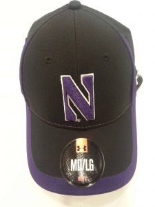 Northwestern University Wildcats Under Armour Black/Purple Flex-Fit Hat with Stylized N Design