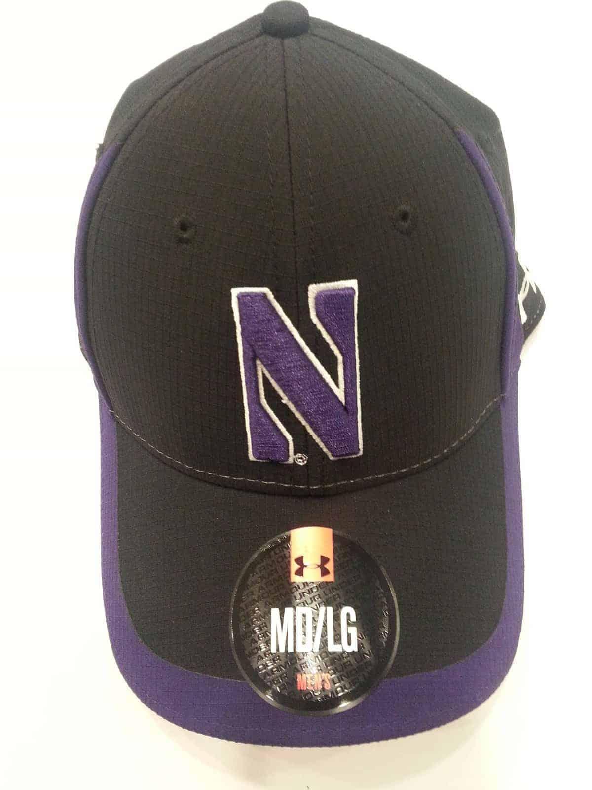 b1dbeee980f Northwestern University Wildcats Under Armour Black Purple Flex-Fit Hat  with Stylized N Design