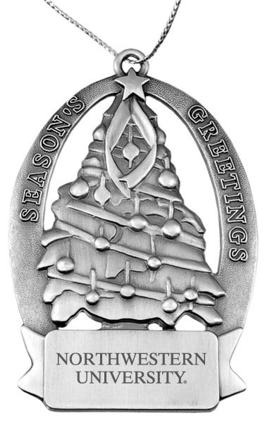 Northwestern Wildcats Pewter Christmas Tree Ornament with Northwestern University  Design