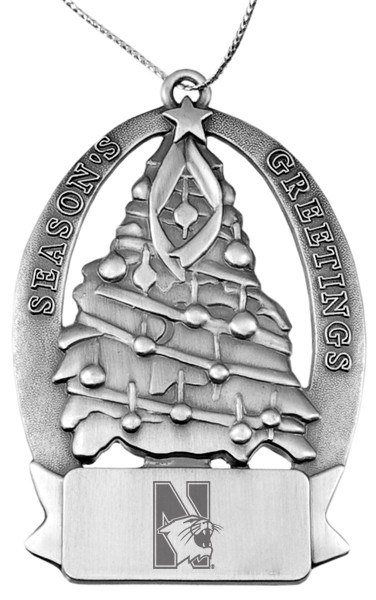 Northwestern Wildcats Pewter Christmas Tree Ornament with Mascot  Design