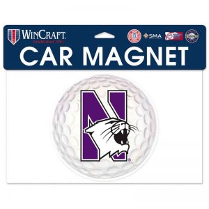 "Northwestern Wildcats Flexible Magnet with N-Cat Printed on a Multicolor Image of a Golf Ball 6.1"" x 6.1"""