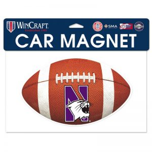 "Northwestern Wildcats Flexible Magnet with N-Cat Printed on a Multicolor Image of a Football Ball 7.6"" x 4.7"""