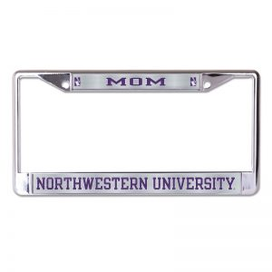 Northwestern Wildcats Chrome License Plate Frame with Laser Color Frost-MOM/NORTHWESTERN UNIVERSITY