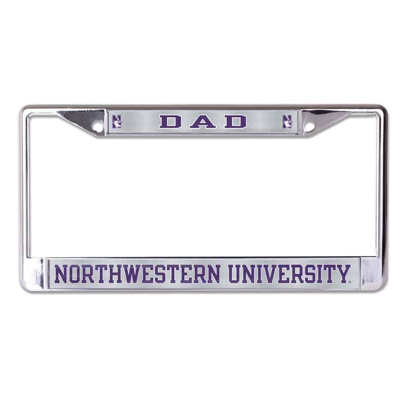 Northwestern Wildcats Chrome License Plate Frame with Laser Color Frost-DAD/NORTHWESTERN UNIVERSITY