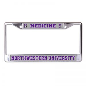 Northwestern Wildcats Chrome License Plate Frame with Laser Color Frost-Northwestern Medicine Inserts