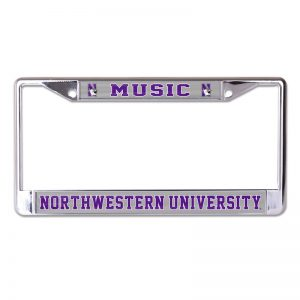 Northwestern Wildcats Chrome License Plate Frame with Laser Color Frost-MUSIC/NORTHWESTERN UNIVERSITY