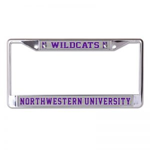 Northwestern Wildcats Chrome License Plate Frame with Laser Color Frost-WILDCATS/NORTHWESTERN UNIVERSITY