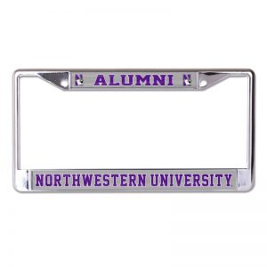 Northwestern Wildcats Chrome License Plate Frame with Laser Color Frost-ALUMNI/NORTHWESTERN UNIVERSITY