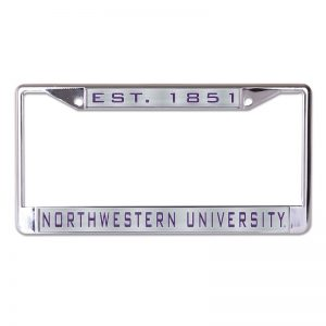 Northwestern Wildcats Chrome License Plate Frame with Laser Color Frost-EST 1851/NORTHWESTERN UNIVERSITY