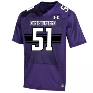 Northwestern University Wildcats Adult Under Armour Purple Replica Football Jersey with #51-Front