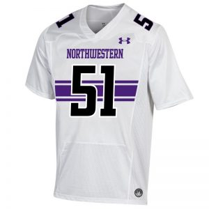 Northwestern University Wildcats Adult Under Armour White Replica Football Jersey with #51-Front