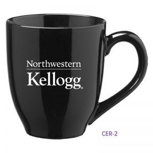 Northwestern University Wildcats Laser Engraved Black Ceramic Coffee Mug with Kellogg Design