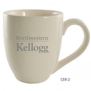 Northwestern University Wildcats Laser Engraved Light Cream Ceramic Coffee Mug with Kellogg Design
