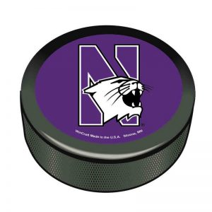 Northwestern Wildcats Hockey Puck with N-Cat Design