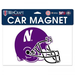 "Northwestern Wildcats Flexible Magnet with N-Cat Printed on a Multicolor Image of a Football Helmet 6.8"" x 5.5"""