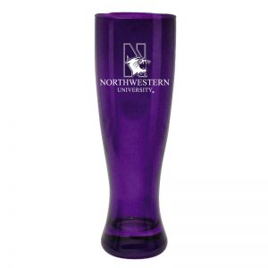 Northwestern University Wildcats 16 oz. Purple Glass Pilsner With N-Cat Design