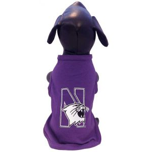 Northwestern University Wildcats Cotton Lycra Dog Shirt With N-Cat Design