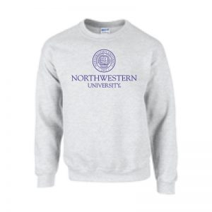 Northwestern University Wildcats Men's Light Grey Crewneck Sweatshirt with Northwestern University Seal Design