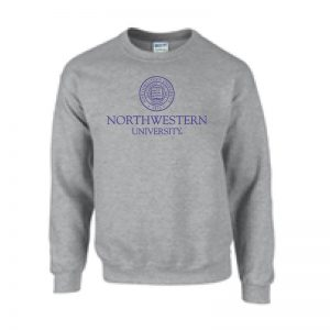 Northwestern University Wildcats Men's Dark Grey Crewneck Sweatshirt with Northwestern University Seal Design