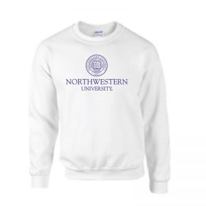 Northwestern University Wildcats Men's White Crewneck Sweatshirt with Northwestern University Seal Design