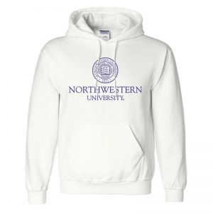 Northwestern University Wildcats Men's White Hooded Sweatshirt with Northwestern University Seal Design