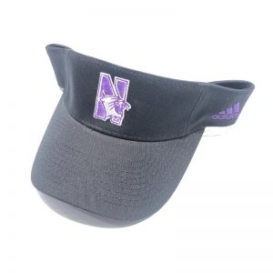 Northwestern University Wildcats Black Velcroback Visor with N-cat Design
