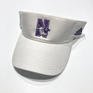 Northwestern University Wildcats White Velcroback Visor with N-cat Design