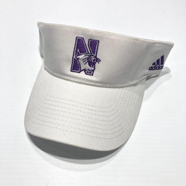 Northwestern University Wildcats White Velcroback Visor with N-cat Design