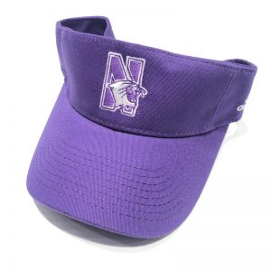 Northwestern University Wildcats Purple Velcroback Visor with N-cat Design