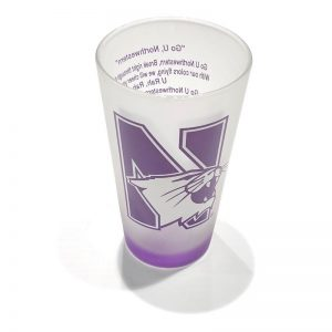Northwestern Wildcats White Frosted Pint of Ale Glass with N-Cat Design on one Side & Fight Song on the Other Side