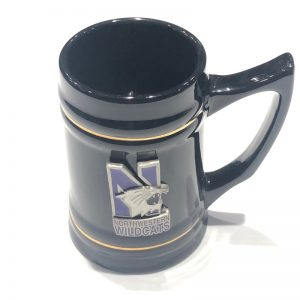 Northwestern Wildcats 26 oz. Black Ceramic Stein with Pewter N-Cat Design Medallion