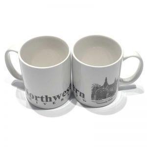 "Northwestern Wildcats 11 oz. White Ceramic Coffee Mug with ""University Hall"" Design"